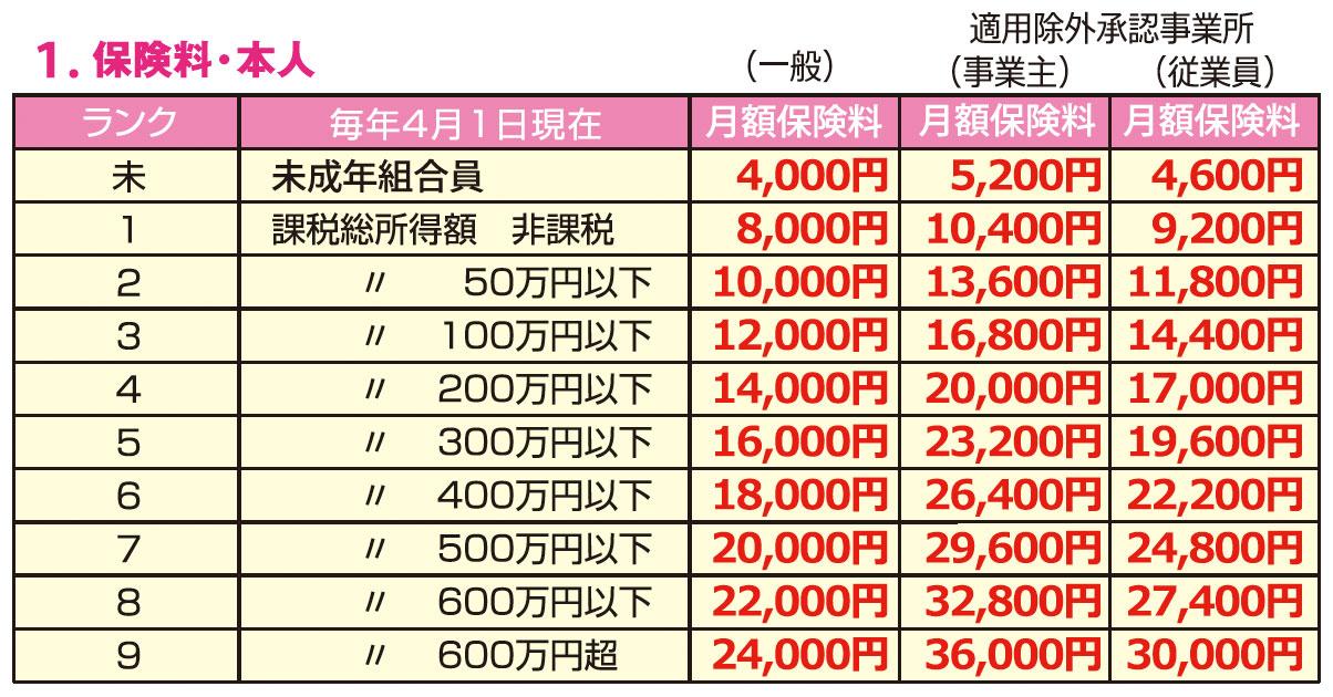 月額保険料本人分 大建国保 大阪建設労働組合国民健康保険